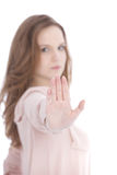 Young woman giving a Stop gesture Royalty Free Stock Photo