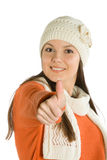 Young woman giving the thumbs up sign Stock Images