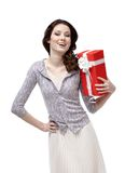 Young woman is glad to receive a gift Stock Images