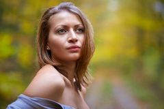 Young woman glamour closeup outdoor Royalty Free Stock Images