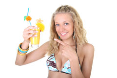Young woman with glass of fresh juice Royalty Free Stock Photos