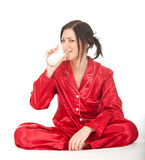 Young woman with glass of milk Stock Photo