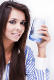 Young woman with glass of water Stock Image
