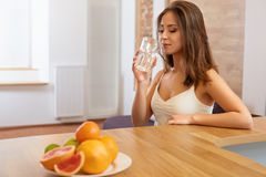 Young Woman with glass of Water. Healthy Lifestyle Stock Images