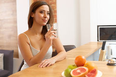 Young Woman with glass of Water. Healthy Lifestyle stock image