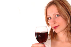 Young woman with glass of wine Royalty Free Stock Photography