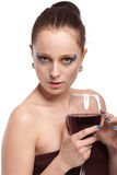 Young woman with glass of wine. Stock Image