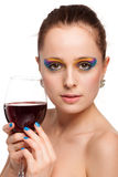 Young woman with glass of wine. Stock Images