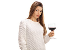 Young woman with a glass of wine Stock Image