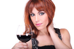 Young woman with glass of wine Royalty Free Stock Images