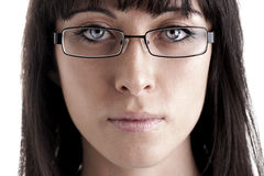 Young woman with glasses. Close-up of a young woman with glasses Royalty Free Stock Photos