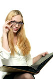 Young Woman in glasses with a book Stock Photography