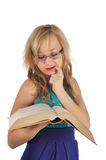 Young woman with glasses and book prepare for the session. Isolated on white Stock Photo