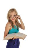 Young woman with glasses and book prepare for the session. Isolated on white Royalty Free Stock Photo