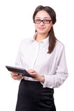 Young woman in glasses with a calculator Royalty Free Stock Images