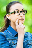 Young woman glasses dreams Stock Photo