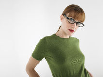 Young Woman In Glasses And Green Tshirt Stock Photos