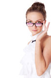 Young woman in glasses | Isolated Royalty Free Stock Photos