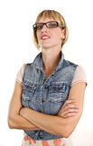 Young woman with glasses and jeans jacket Stock Image