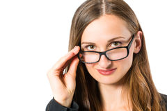 Young woman with glasses looking Royalty Free Stock Photos