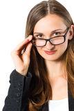 Young woman with glasses looking Stock Images
