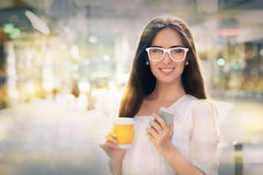 Young woman with glasses out in the city stock photos