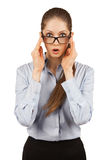 Young woman in glasses with something surprised Royalty Free Stock Photo