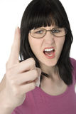 Young Woman in Glasses Yelling Stock Images