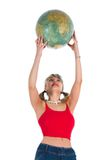 Young woman with  globe Royalty Free Stock Photo