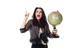 Young woman with globe on isolated background. Young woman with an old globe isolated on white background Stock Photography