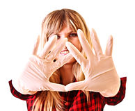 Young woman with gloves isolated Stock Photos