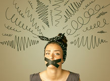 Young woman with glued mouth and curly lines Stock Photography