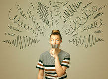 Young woman with glued mouth and curly lines Stock Photos