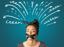 Young woman with glued mouth Stock Photo