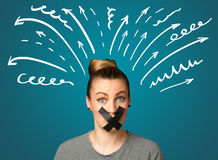 Young woman with glued mouth Royalty Free Stock Images