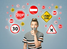 Young woman with glued mouth and traffic signals Royalty Free Stock Image