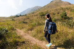 Young Woman go hiking Stock Photo