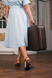 Young woman goes on a journey. Stock Images