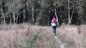Young woman goes Nordic walking outdoors stock video footage
