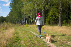 Young woman goes Nordic walking Stock Photos