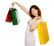 Young woman goes shopping Royalty Free Stock Images