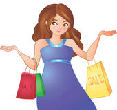 Young woman goes for shopping. Young woman enjoys sale shopping Stock Illustration