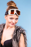 Young woman with goggle. Royalty Free Stock Photo