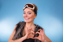 Young woman with goggle. Royalty Free Stock Image