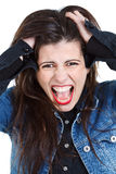 Young woman going crazy Stock Images
