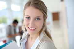 Young woman going to class Royalty Free Stock Photos