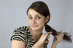 Young woman going to cut hair Royalty Free Stock Images
