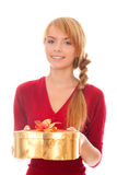 Young woman with gold gift box as heart Stock Photography