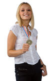 Young woman with gold medal Stock Image