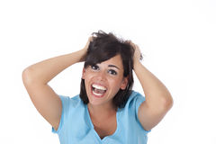 Young woman gone crazy Stock Photos